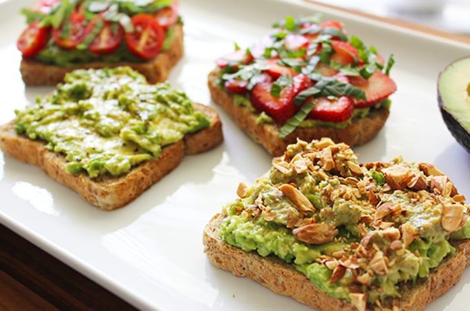 avocado toast four different ways