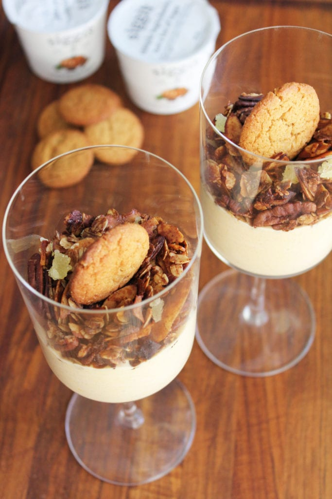 Pumpkin Parfait with Gingersnap Granola   Get the recipe for this delicious and healthy pumpkin parfait with gingersnap granola to satisfy all of your pumpkin cravings for breakfast, a snack, or dessert!