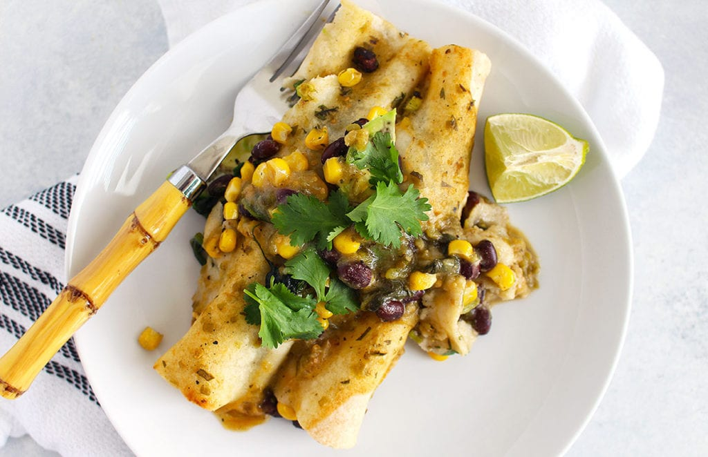 Black Bean and Spinach Enchiladas - Gluten Free - FitLiving Eats by Carly Paige Recipe