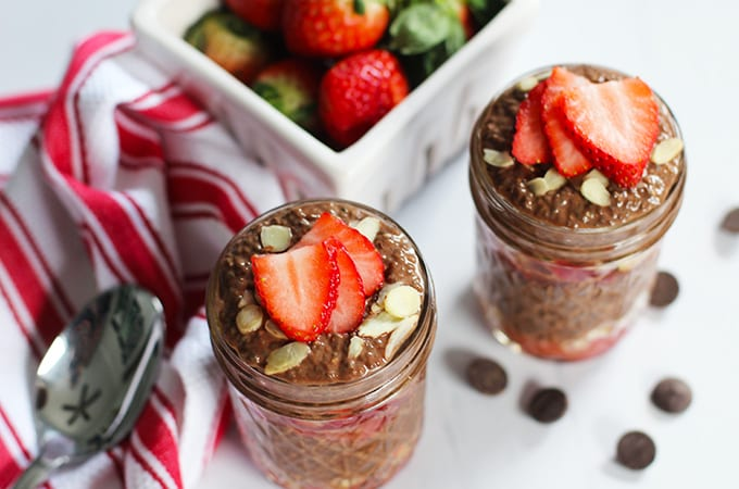 Get the recipe for this healthy spin on a classic treat - Chocolate Covered Strawberry Chia Pudding! Indulgent without the guilt. #vegan #chocolate #valentines