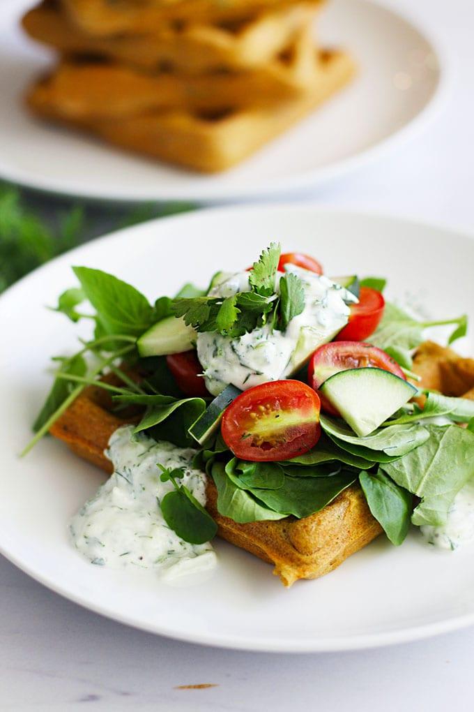Falafel Waffles & a Creamy Tzatziki Sauce {gluten free} || FitLiving Eats