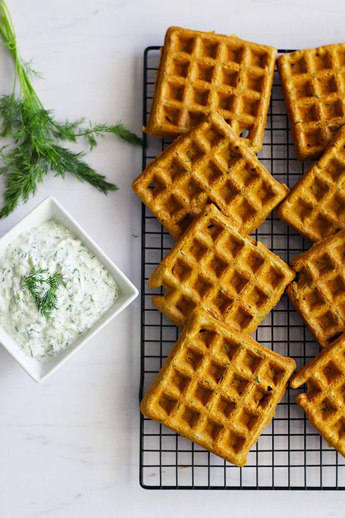 Falafel Waffles with Tzatziki Sauce