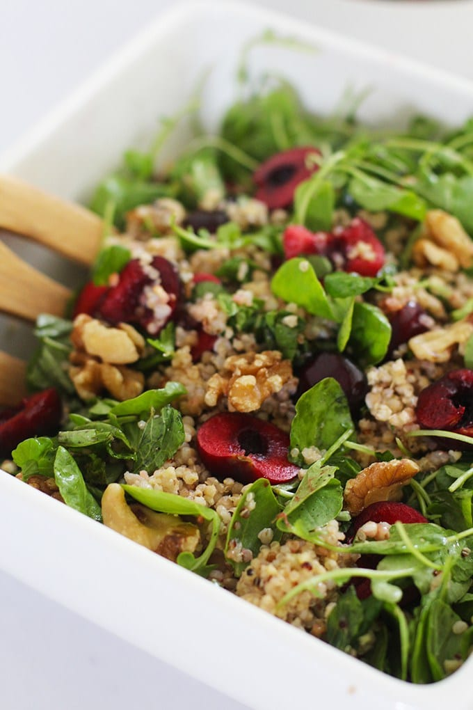 Super Grain Salad with Cherries and Walnuts   Get the recipe for this delicious and simple summery salad made with gluten free whole grains, sweet cherries, walnuts and fresh greens!