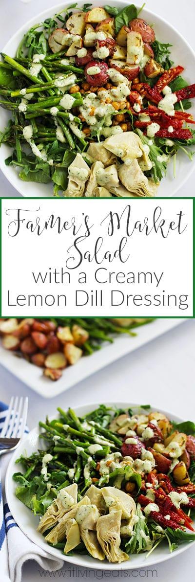Farmer's Market Salad with Vegan Creamy Lemon Dill Dressing    FitLiving Eats