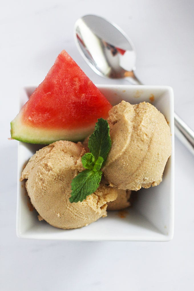 Indulge in this creamy and healthy {dairy-free} Watermelon Mint Ice Cream made with coconut milk! | fitlivingeats.com