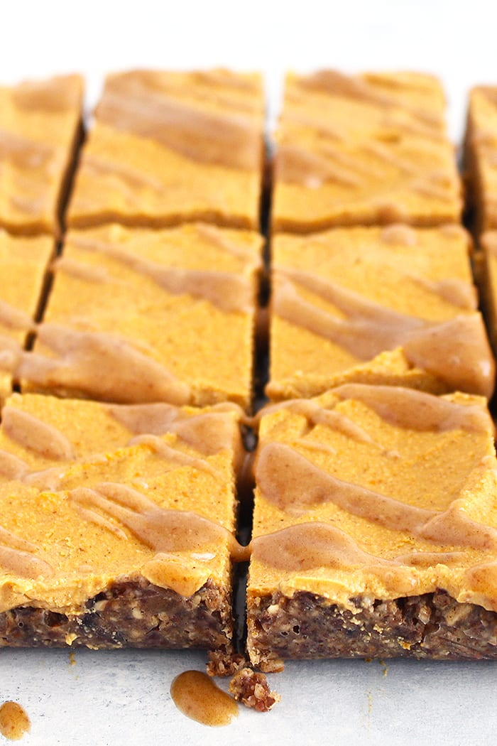 FitLiving Eats by Carly Paige - Recipe pumpkin pie cheesecake bars 1