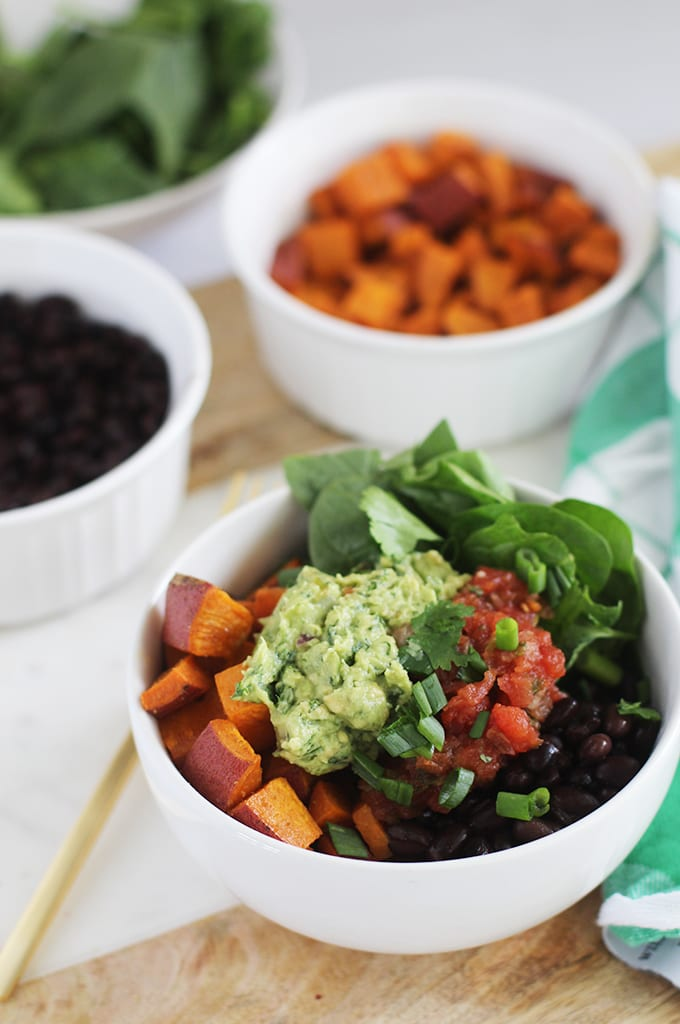 Chipotle-Inspired Sweet Potato and Black Bean Power Bowl | Get the recipe for this simple and healthy sweet potato and black bean power bowl! The perfect vegan dish for meal prep Monday.