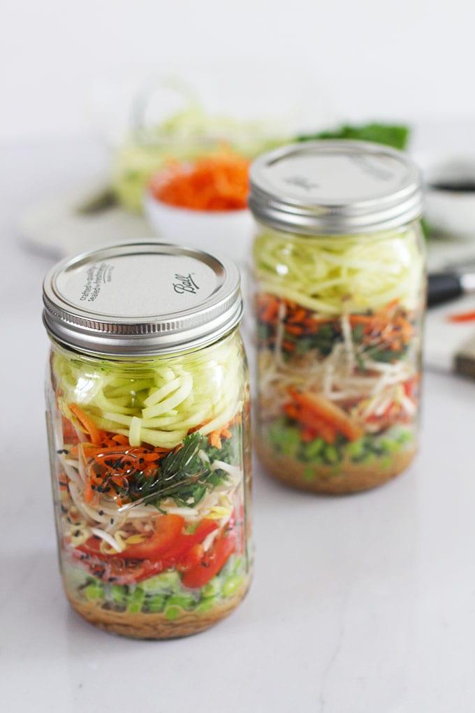 Raw Pad Thai Mason Jar Salad with Kelp Noodles (vegan and gluten-free!)   FitLiving Eats