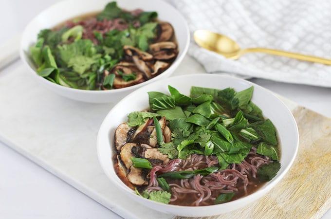 Mushroom and Bok Choy Ramen Bowl with Lotus Foods Ramen