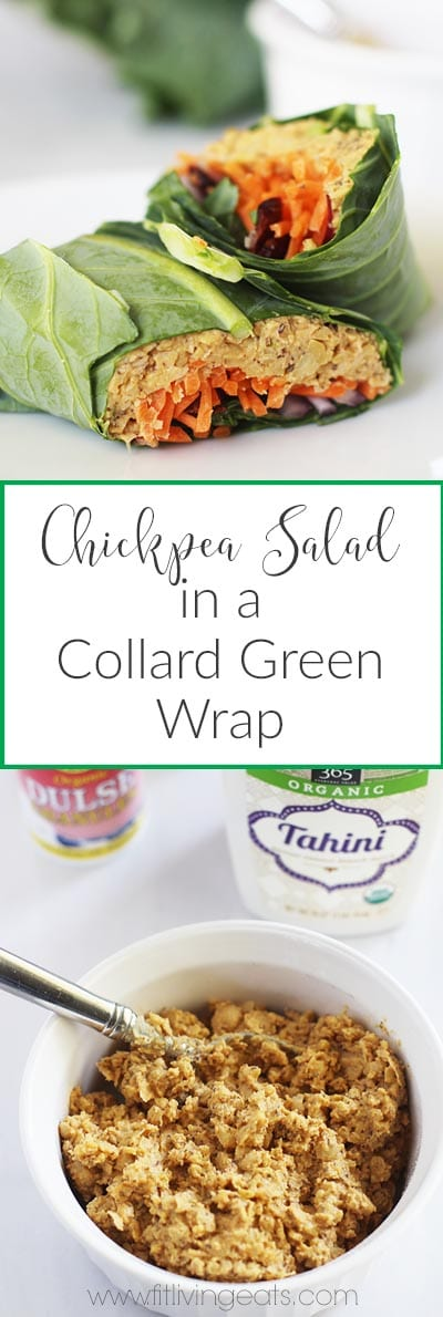 """No """"Tuna"""" Chickpea Salad in a Collard Green Wrap made with staples you have in your kitchen! 