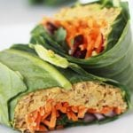 """Get the recipe for this delicious """"no tuna"""" chickpea salad wrap using collard green leaves! Full tutorial in the post."""