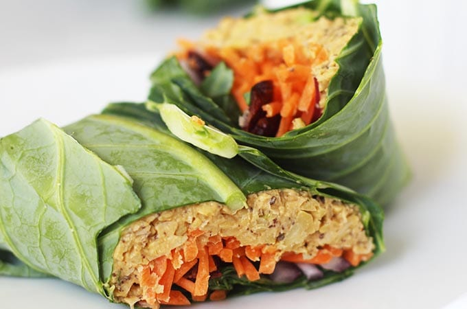 "Get the recipe for this delicious ""no tuna"" chickpea salad wrap using collard green leaves! Full tutorial in the post."