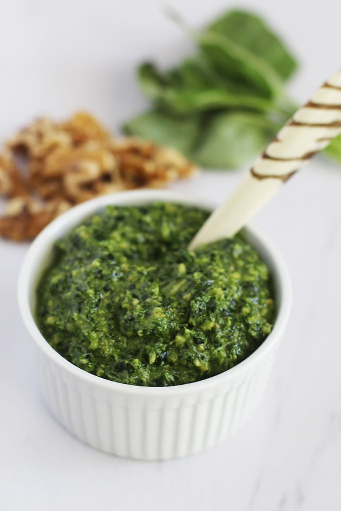 The only pesto recipe you will ever need! This kale and walnut pesto would be a delicious dip, sauce or marinade and can be made in under 5 minutes (with less than 7 ingredients!).