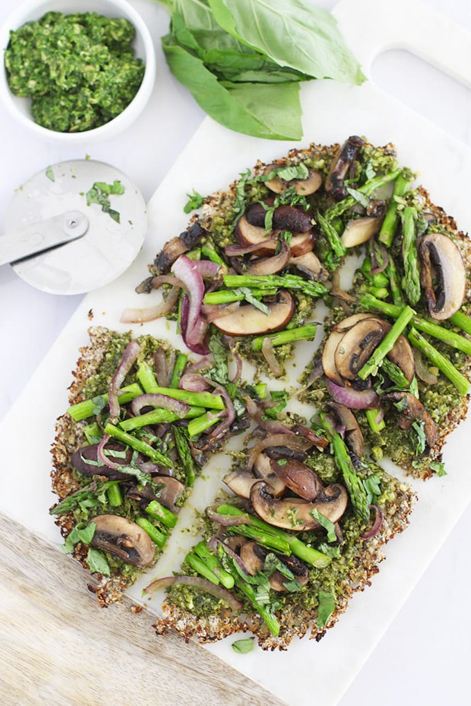 Super easy and delicious Clean Green Cauliflower Crust Pizza recipe!