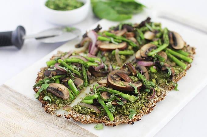 Clean Green Cauliflower Crust Pizza (vegan + gluten-free)