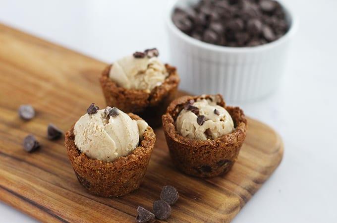 "Mini Chocolate Chip Cookie Cups with ""Nice"" Cream (vegan + gluten-free)"