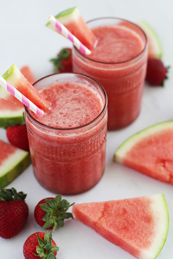 Watermelon Strawberry Lime Cooler (made with 4 ingredients!)