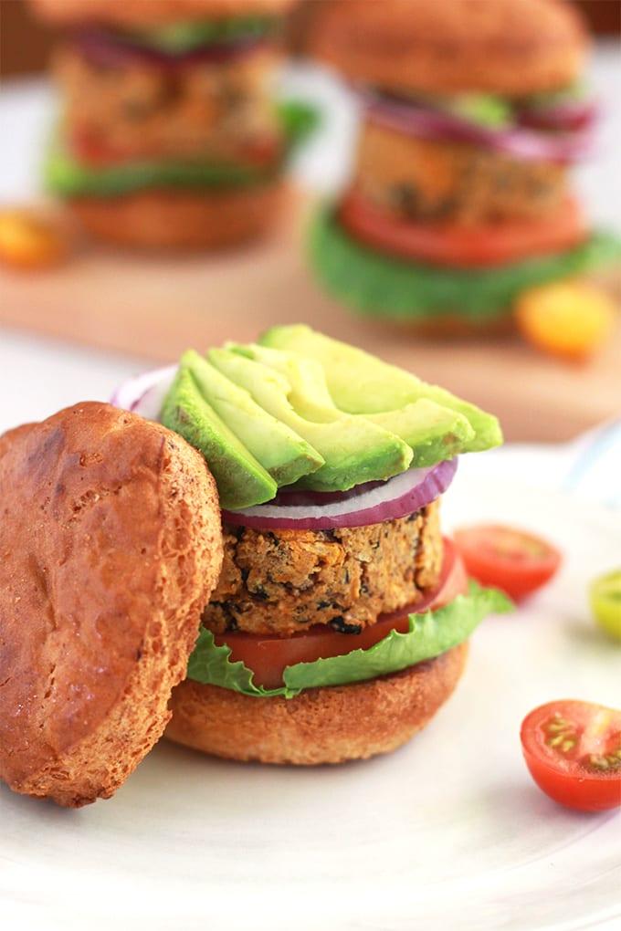 Black Bean and Sweet Potato Veggie Burger for Meatless Monday! (vegan + gluten free)