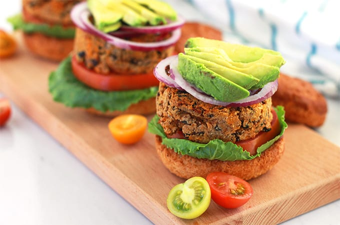 Sweet Potato and Black Bean Veggie Burgers (vegan + gluten-free)