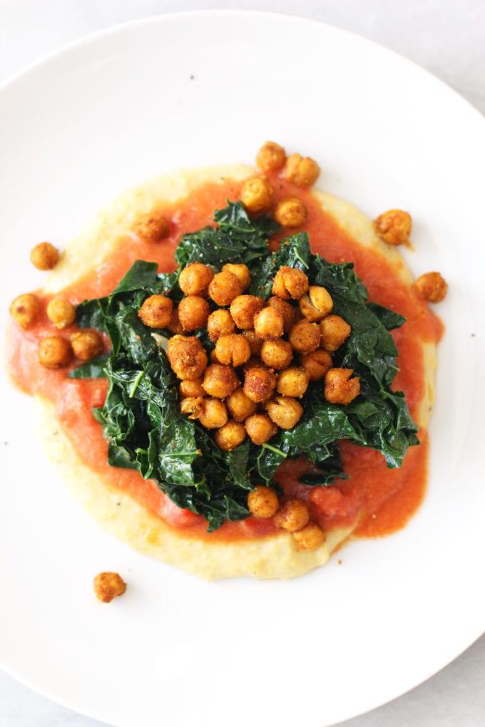 vegan creamy polenta and garlicky kale 2
