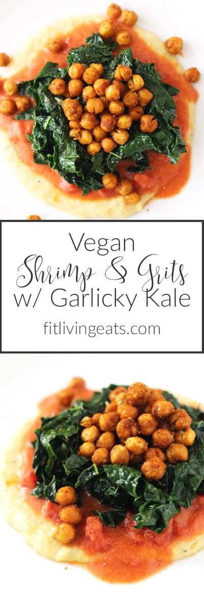 Creamy Polenta w/ Garlicky Kale & Crispy Chickpeas