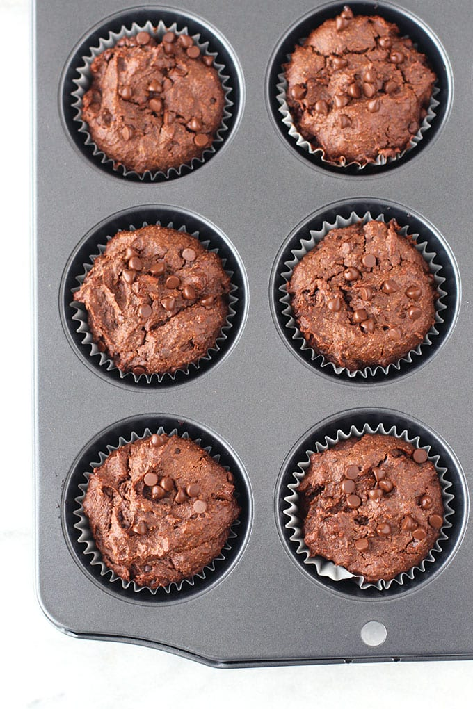 Double Chocolate Sweet Potato Brownie Muffins (low-carb, vegan, gluten-free)