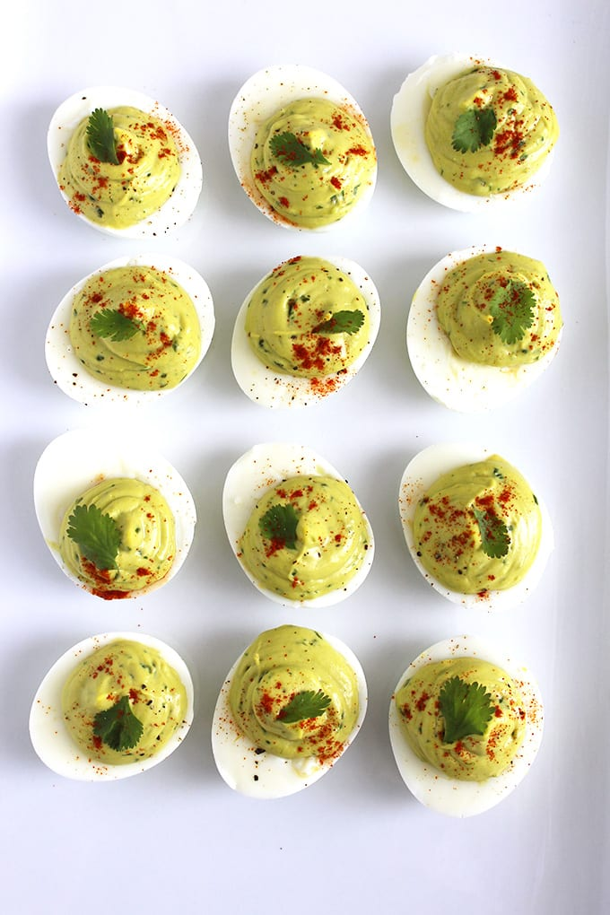 Avocado deviled eggs made with only 8 ingredients (dairy-free, keto friendly, paleo, vegetarian)