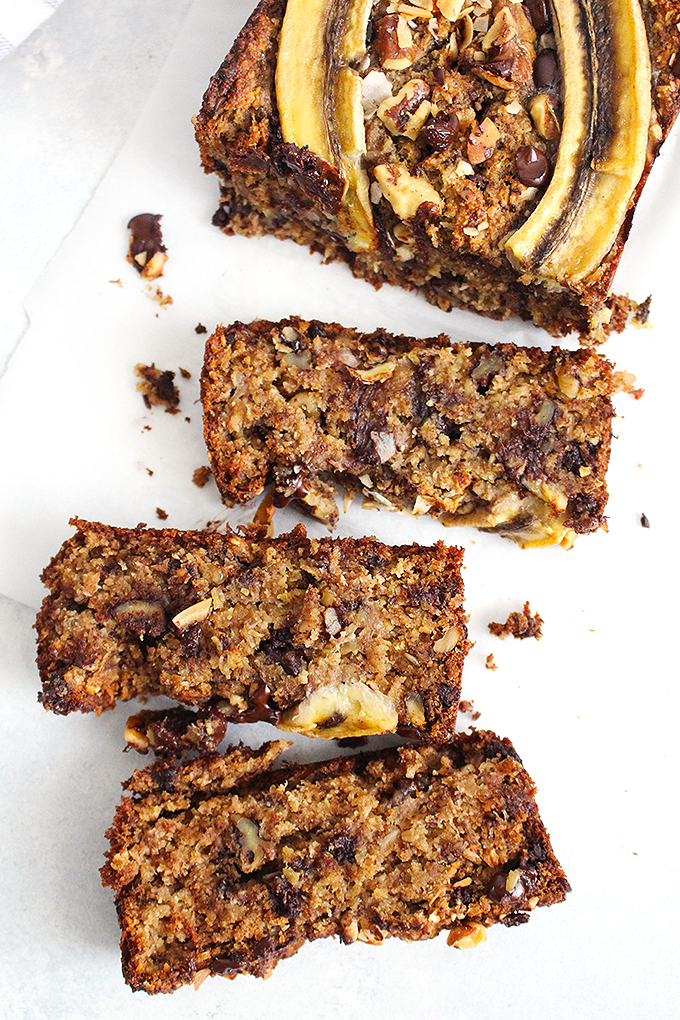 Healthy Superfood Chunky Monkey Banana Bread (Vegan + Gluten-Free) Recipe | FitLiving Eats by Carly Paige