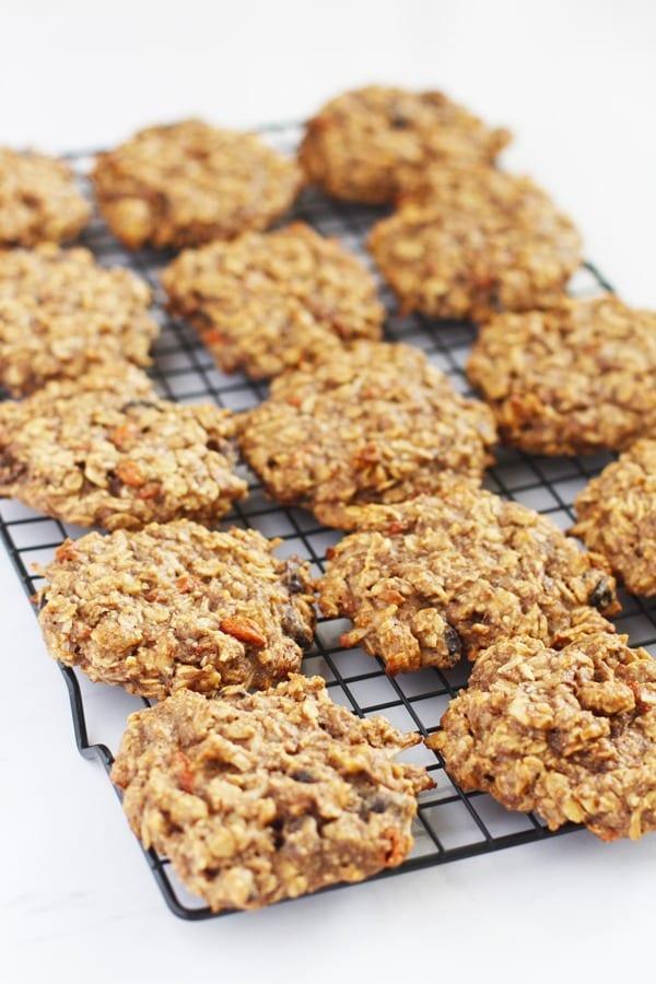 breakfast cookies on black wire rack