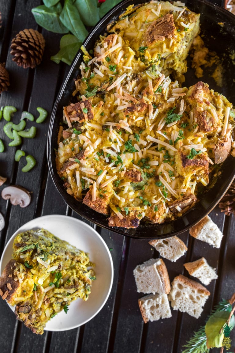 FitLiving Eats by Carly Paige - 17 Vegan Breakfast Recipes for Christmas Morning Holiday_Breakfast_Vegan_Strata_Sweet_Simple_Vegan_5_WM-768x1152