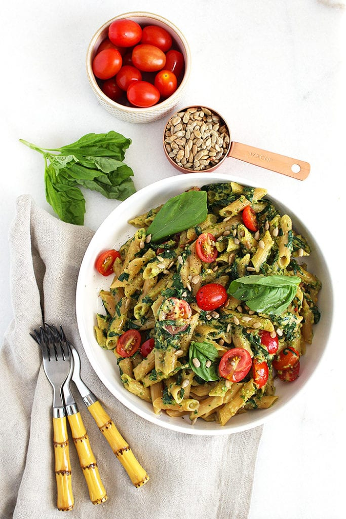 5 ingredient pesto pasta - FitLiving Eats by Carly Paige - 3