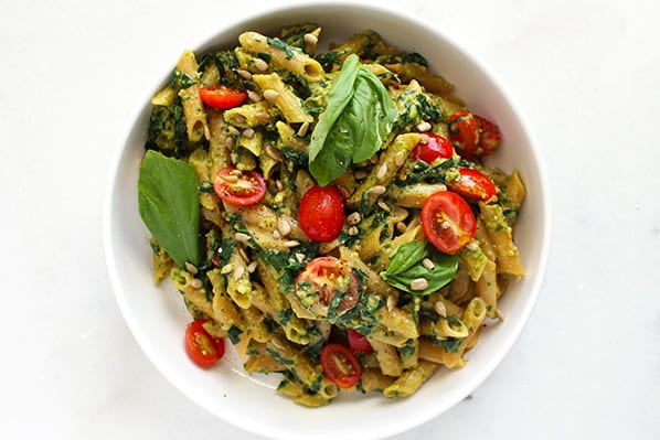 5 ingredient pesto pasta - FitLiving Eats by Carly Paige - featured