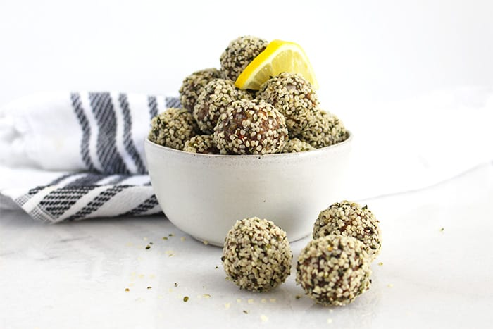 FitLiving Eats by Carly Paige - Recipe - lemon ginger energy bites featured
