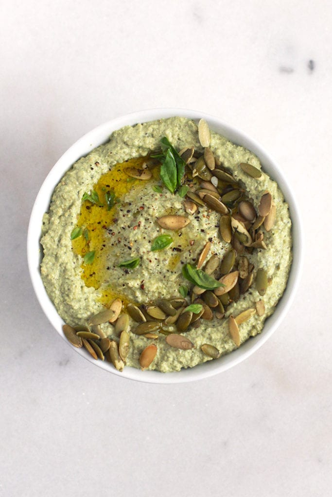 Bean-Free Zucchini Basil Hummus Recipe - FitLiving Eats by Carly Paige 2