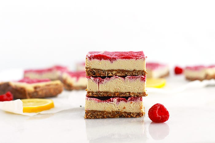 lemon raspberry cheesecake bars featured FitLiving Eats by Carly Paige