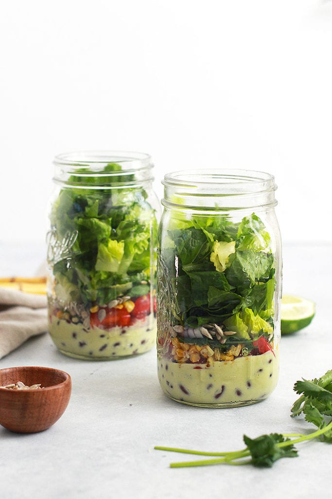 mexican cobb mason jar salad recipe - FitLiving Eats by Carly Paige