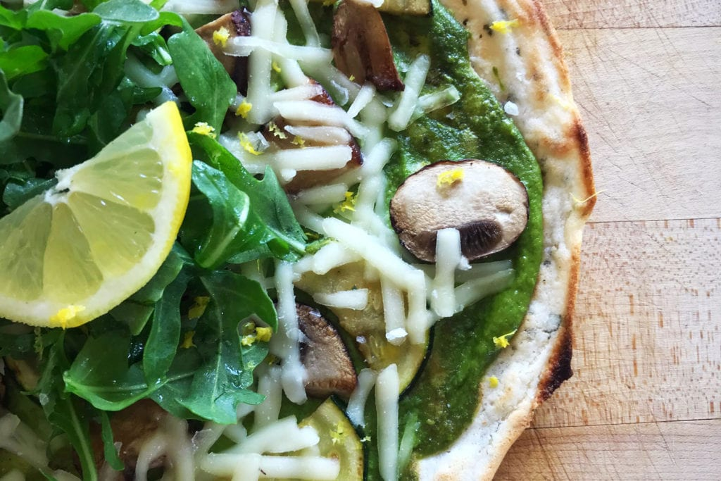 Garden-Salad-Pizza-with-Pumpkin-Seed-Pesto-Recipe-FitLiving-Eats-by-Carly-Paige