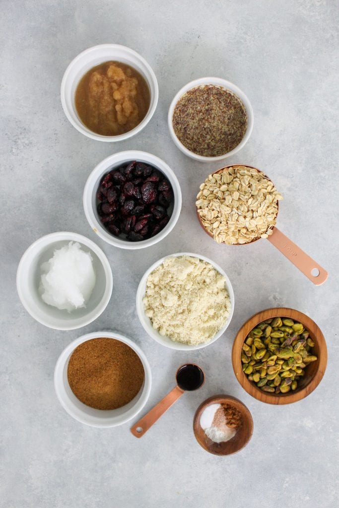 ingredients and natural sweeteners for cranberry pistachio oatmeal cookie recipe