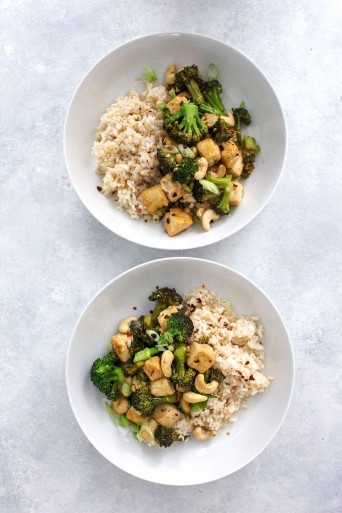 easy broccoli tofu stir fry in 2 bowls