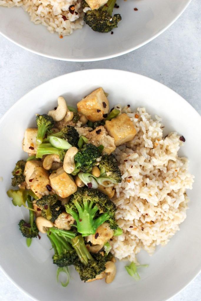 closeup image of broccoli tofu stirfry recipe in a bowl