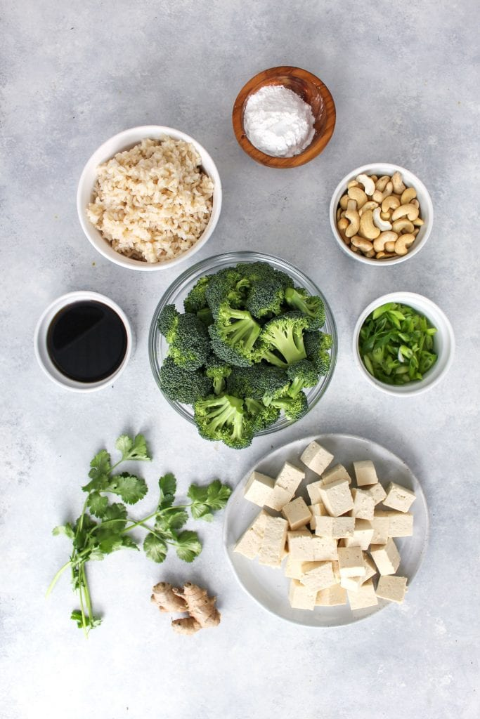 ingredients separated out for easy broccoli tofu stirfry recipe