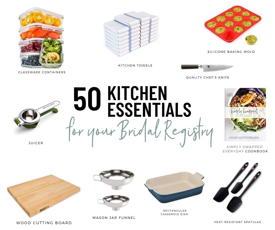 assortment of kitchen essentials to add to your bridal registry