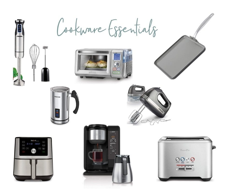assortment of cookware essential products for your bridal registry