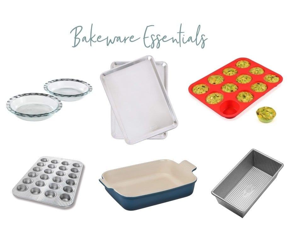 assortment of bakeware essentials for your registry
