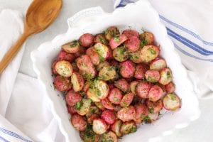 bowl of roasted radishes