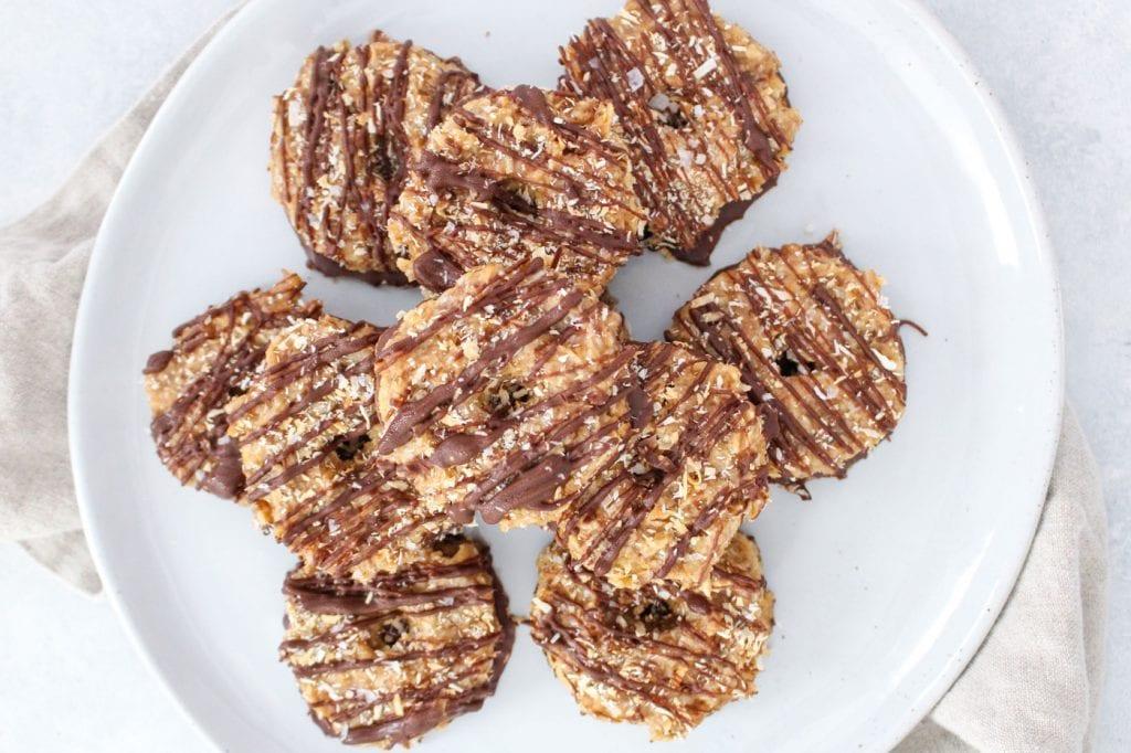 plate of homemade samoa cookies