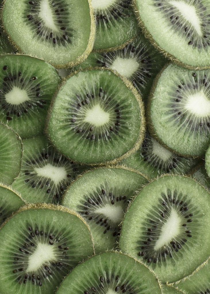 close up of slices of kiwi